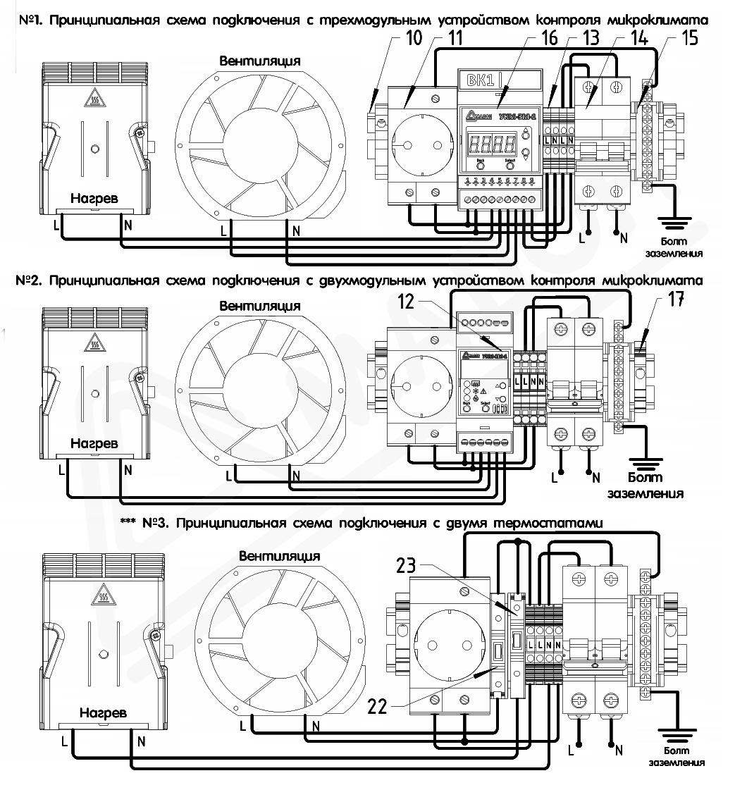 Термошкаф «Амадон» с обогревом и вентиляцией — схема электрическая