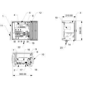 Термошкаф для систем видеонаблюдения ТША121-ВЦ-2.2.1 - размеры