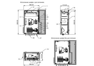 Термошкаф для систем видеонаблюдения ТША121-ВЦ-4.(1)2.3 - размеры