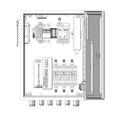 Термошкаф ТША121-ВЦ322-ХХ для систем видеонаблюдения ( металлический, на 3 видеокамеры, без АКБ )