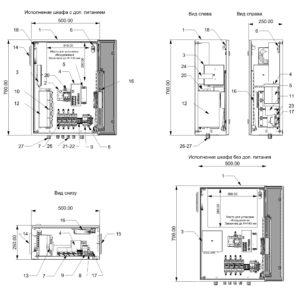 Термошкаф для видеонаблюдения ТША122-ВЦ414-XX- размеры