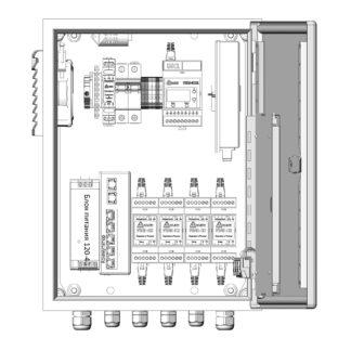 Термошкаф ТША121-ВЦ422-ХХ для систем видеонаблюдения ( металлический, на 4 видеокамеры, без АКБ )