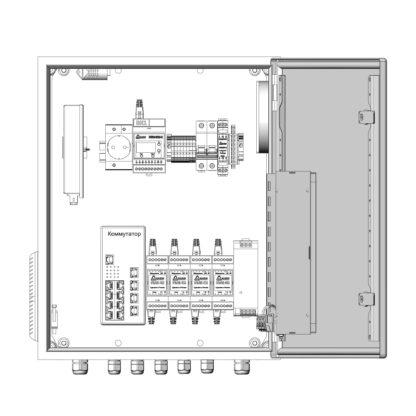 Термошкаф ТША522-ВЦ425-ХХ для систем видеонаблюдения ( пластиковый, на 4 видеокамеры, без АКБ )