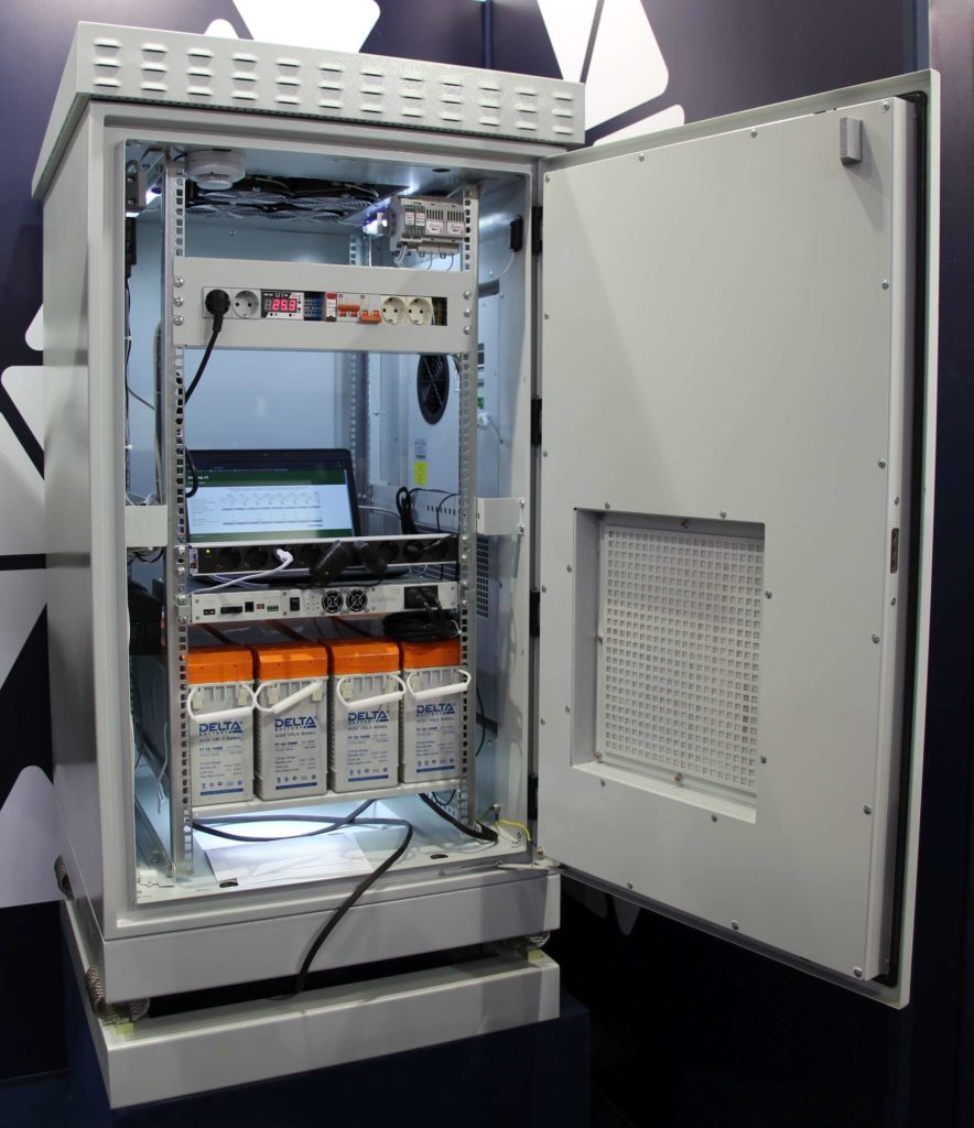 Термошкаф с виброгасителями ТША419-75.120-24U.80-800-О1000-ИБП-УХЛ1