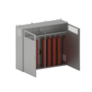 Термошкаф «Амадон» ТША100-Б2-80.220.70-ST для хранения 2-х баллонов под взрывоопасные жидкости, с обогревом, ложементом с откидным помостом