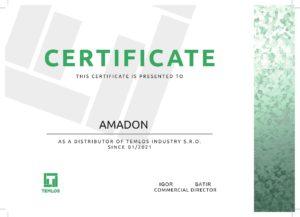 Сертификат дистрибьютора Temlos